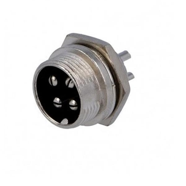 Conector Circular Chasis de 4 Pines Macho GX16-4